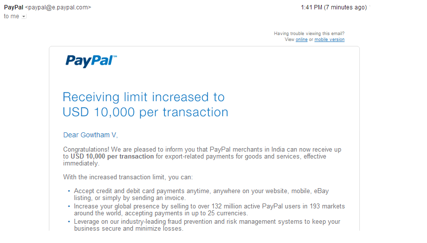 Paypal Receiving Limit India